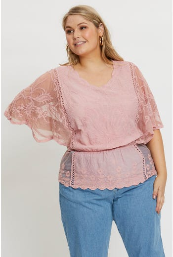 Plus Short Sleeve Mesh Lace Oblong Top
