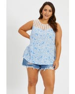 Plus Sleeveless Floral Print Lace Insert Shell Top