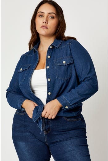 Plus Long Sleeve Denim Shirt Top