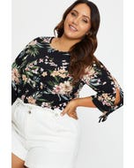 Plus 3/4 Sleeve Cold Shoulder Ruffle Top