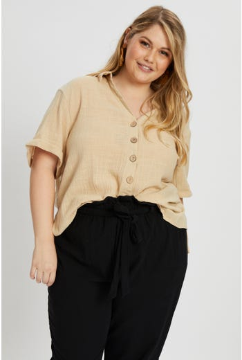 Plus Short Sleeve Linen Look Shirt Top