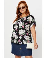Plus Floral Print Shell Top