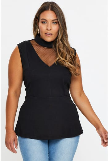 Plus Sleeveless Cut Out High Neck Mesh Top