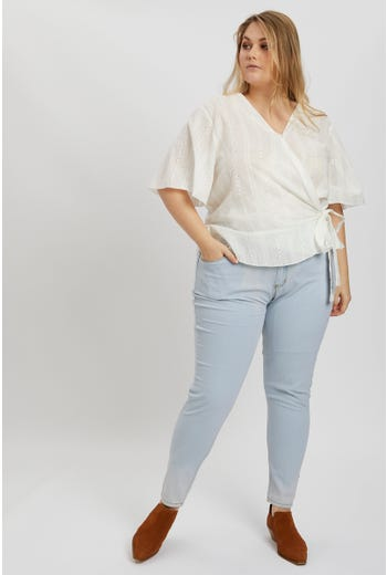 Cotton Eyelet Wrap Blouse