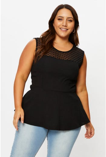 Plus Mesh Sleeveless Peplum Top