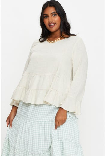 Plus Long Sleeve Tiered Top