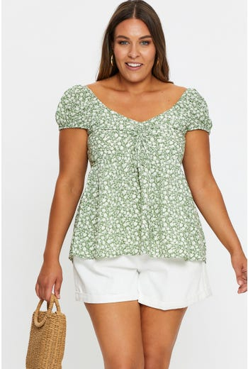 Plus Pulling String Peplum Peasant Top