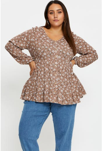 Plus Long Sleeve Floral Print Tiered Top