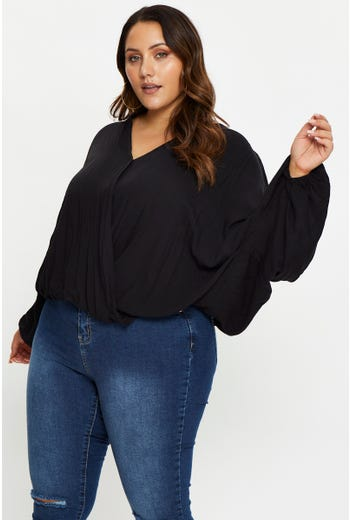 Plus Twist Front Long Sleeve Top
