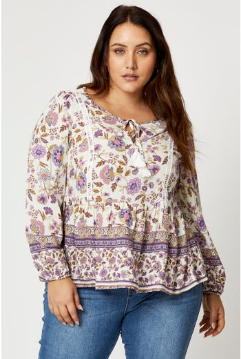 Plus Long Sleeve Boho Print Peasant Top