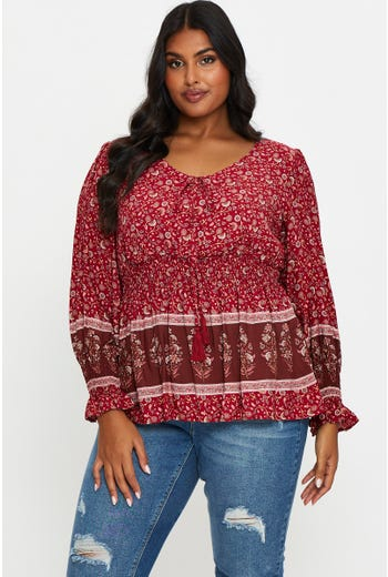 Plus Boho Print Peasant Top