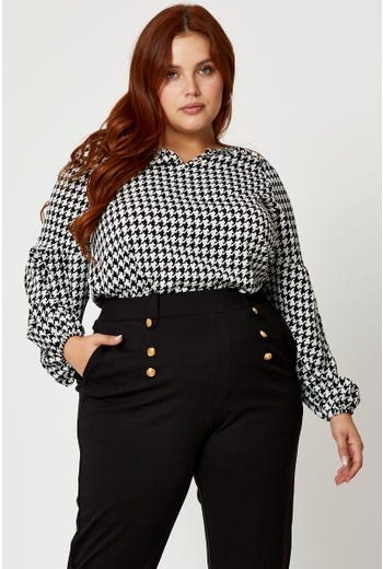 Plus Houndstooth Notched Neck Long Sleeve Top