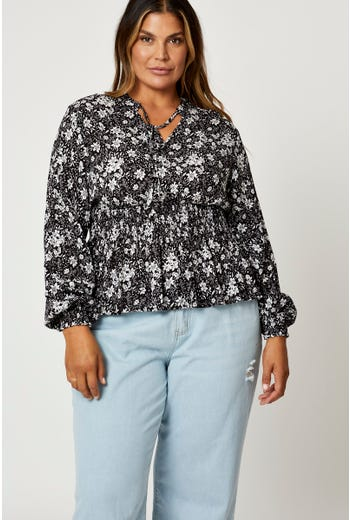Plus Floral Print Chiffon Long Sleeve Peplum Top