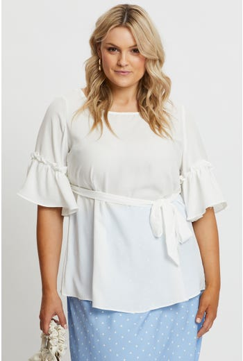 Plus Ruffle Sleeve Belted Top
