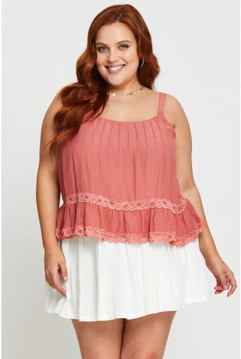 Plus Sleeveless Pintuck detail Lace Inset Cami Top