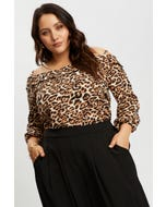 Animal Print Bardot Ruffle Top