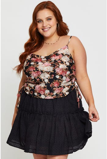 Plus Floral Side Gathered Cowl Neck Cami Top