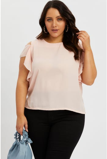 Plus Cold Shoulder Ruffle Top