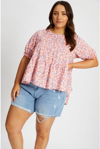 Plus Floral Peplum Top