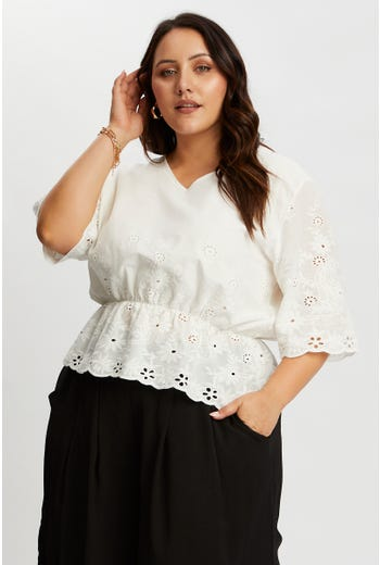 Plus Cotton Eyelet Peplum Top