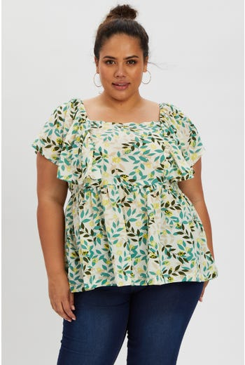 Plus Floral Tie Waist Peplum Top