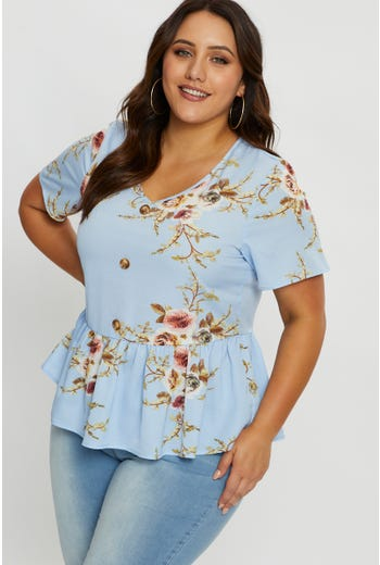 Plus Floral Peplum Bell Sleeve Top