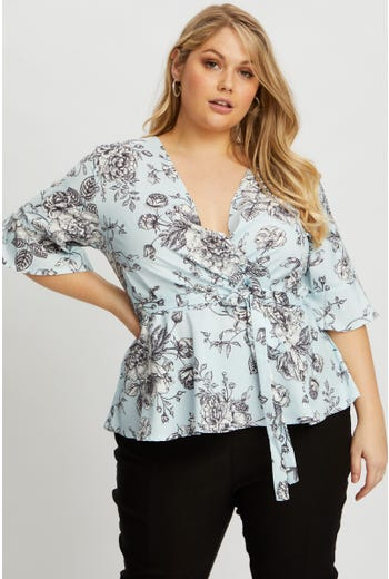 Plus Floral Wrap Top