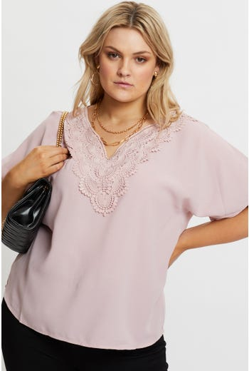 Plus Crochet Trim Top