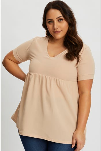 Plus V Neck Babydoll Swing Top