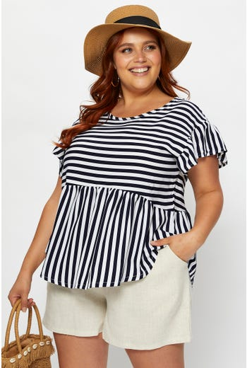 Plus Stripe Peplum Top