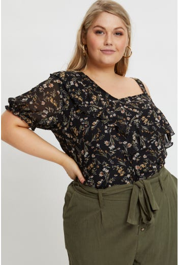 Plus Floral Cold Shoulder Top