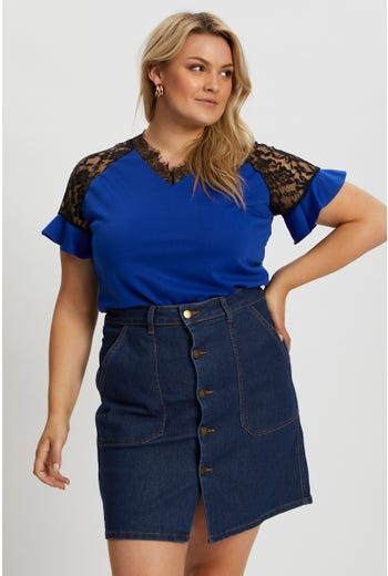Plus Short Sleeve Lace Panel Top