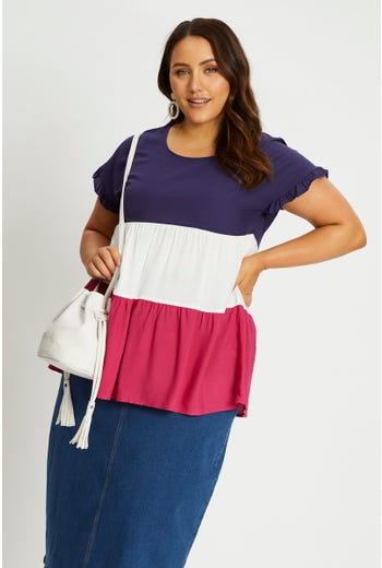 Plus Short Sleeve Color Block Top
