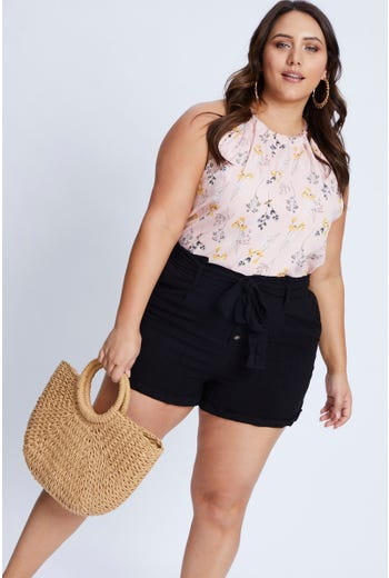 Plus Floral Print Halter Neck Top