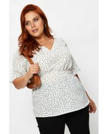 Plus Short Sleeve Polka Dot Peplum Top
