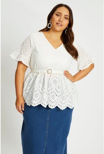 Plus Short Sleeve Cotton Eyelet  Peplum Top