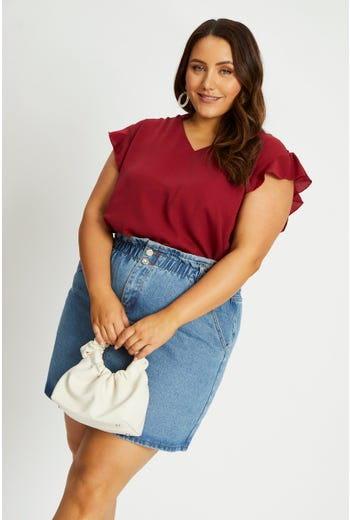 Plus V-Neck Frill Sleeve Top