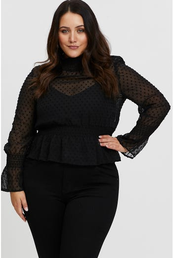 Plus High Neck Self Polka Dot Top