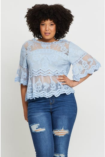 Plus Mesh Lace Shell Top