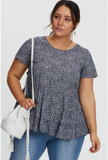 PLUS DITSY TIERED TOP