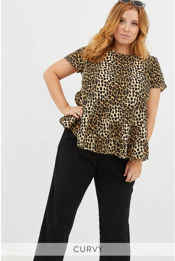 PLUS LEOPARD TIERED TOP