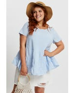 Plus Gingham Check Tiered T Shirt
