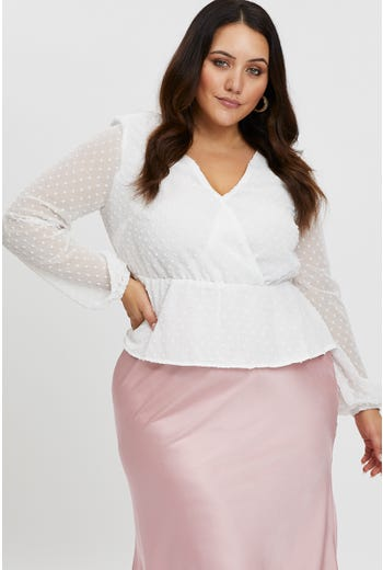 PLUS SWISS DOT WRAP FRONT TOP