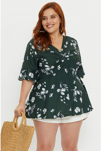 Plus Shirred Front Short Sleeve Top