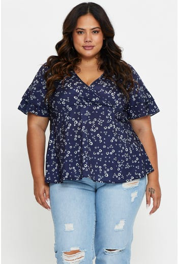 Plus Ditsy Floral Peplum Top