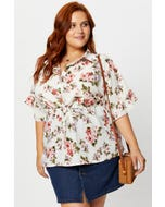 Plus Floral Print Button Front Peplum Top