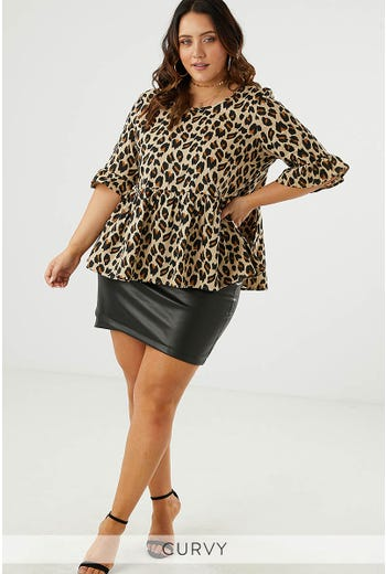 ANIMAL PRINT BELL SLEEVE TOP
