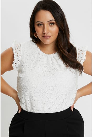PLUS LACE RUFFLE TOP