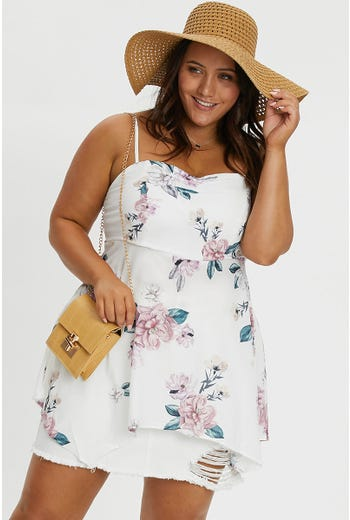 PLUS FLORAL SWING TOP