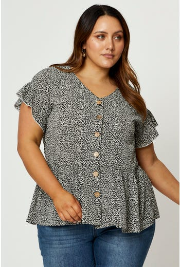 Plus Short Sleeve Geo Button Front Top